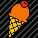 ice, cream, cone, cold, waffle