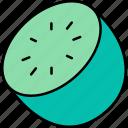 kiwi, cut, half, fruit, healthy