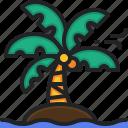 island, nature, beach, landscape, coconut, tree