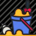 sand, bucket, beach, toy, children, summer, holidays