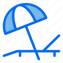 sunbed, vacation, summer, beach, umbrella