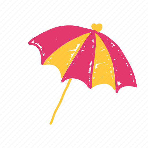beach, cake, orange, pink, rain, summer, umbrella icon