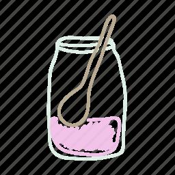 cake, jar, spoon, strawberry, summer icon