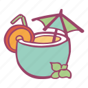 beverage, coconut, drink, relax, summer, vacation icon