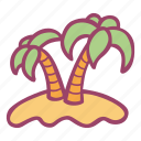 beach, island, palms, summer, tropical icon