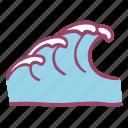holidays, ocean, sea, summer, vacation, wave icon