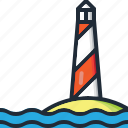 beach, light, lighthouse, ocean, sea, summer, vacation icon