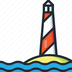 beach, light, lighthouse, ocean, sea, summer, vacation icon