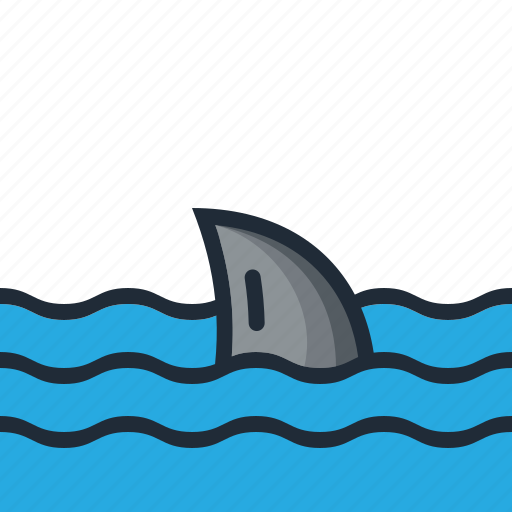beach, danger, ocean, sea, shark, summer, vacation icon