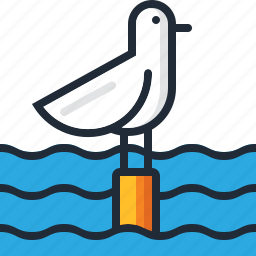 beach, ocean, sea, seagull, summer, vacation, water icon