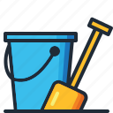 beach, bucket, ocean, sand, sea, summer, vacation icon