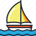 beach, boat, ocean, sail, sea, summer, yacht icon