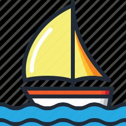 beach, boat, ocean, sail, sea, summer, yacht icon