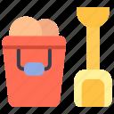 beach, bucket, pail, summer icon
