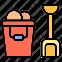 beach, bucket, pail, summer