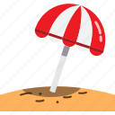 beach, holiday, hot, sand, summer, sunshine, umbrella icon