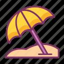 beach, umbrella, sun, bath, summer