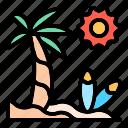 beach, palm, coconut, surf, sunny, vacation, summer