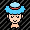 lady, summer, hat, beach, sea, vacation, holiday