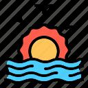 sunset, sunrise, summer, beach, wave, shine, holiday