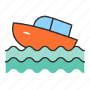 motor boat, transportation, travel, vacation icon