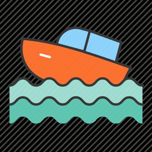 motor boat, transportation, travel, vacation icon