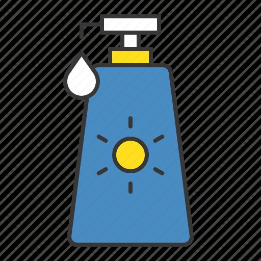 bottle, sun cream, sun protection, sunscreen, vacation icon