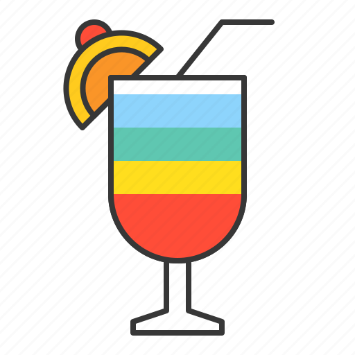beverage, drinks, juice, rainbow drink, vacation icon