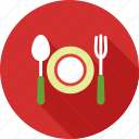 dinner, eat, food, fork, plate, restaurant, spoon icon