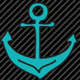 anchor, boat, ocean, sea, ship, summer icon