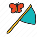 butterfly, catch, net, summer icon