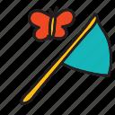 butterfly, catch, net, summer icon