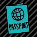 flyer, identification, passport, summer icon