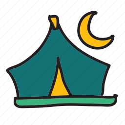 camping, moon, summer, tent icon