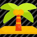 coconut, tree, summer, beach, palm, summertime, nature