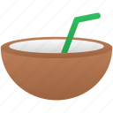 coconut, drink, holiday, summer icon