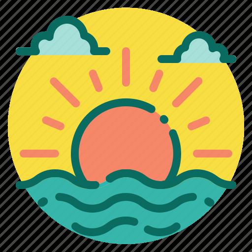 beach, holiday, sea, summer, sun, sunset sunrise, vacation icon