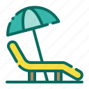 beach, beach chair, holiday, lounger chair, summer, umbrella, vacation icon