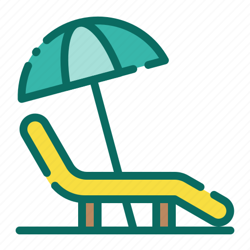 Beach, beach chair, holiday, lounger chair, summer, umbrella, vacation icon - Download on Iconfinder
