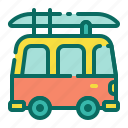 beach, camper van, car, holiday, summer, surf van, vacation icon