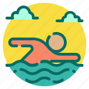 beach, holiday, summer, swim, swimmer, swimming, vacation icon