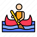 boat, canoe, holiday, paddle, summer, watercraft icon