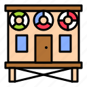 building, bungalow, holiday, house, summer icon