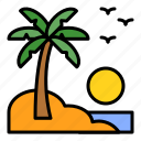 holiday, island, palm, summer, tropical, view icon