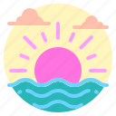 beach, holiday, sea, summer, sun, sunset sunrise, vacation icon