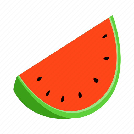 food, fruit, healthy, isometric, red, slice, watermelon icon