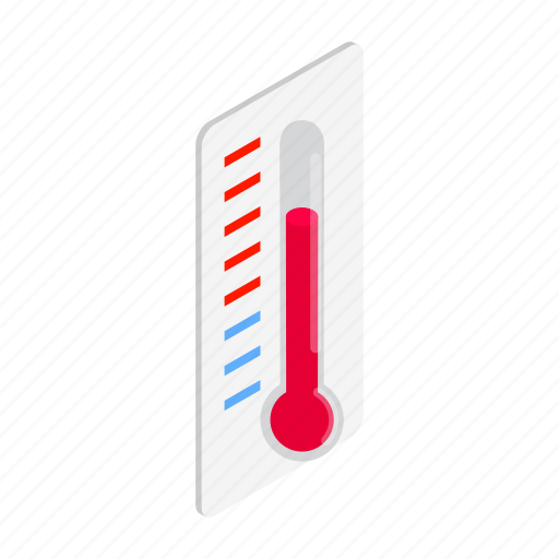 heat, hot, instrument, isometric, summer, temperature, thermometer icon