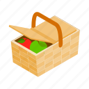 basket, bread, food, fresh, healthy, isometric, picnic icon
