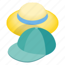 accessory, cap, cloth, hat, head, isometric, wear icon