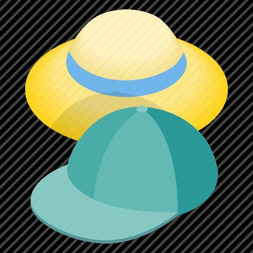 accessory, cap, cloth, hat, head, isometric, wear icon
